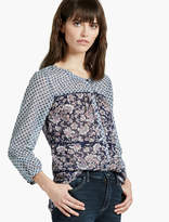 Lucky Brand Mixed Print Peasant Top