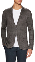 John Varvatos Plated Crinkle Sweater Blazer