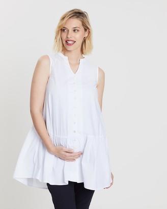 Bump Love Maternity - Women's White Mini Dresses - Ella Ruffle Hem Dress - Size One Size, 14 at The Iconic