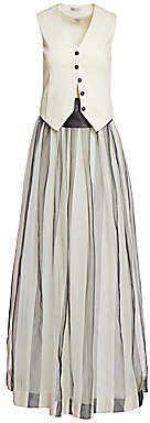 Brunello Cucinelli Women's Vested Silk Tulle Evening Dress