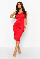 boohoo One Shoulder Pleat Detail Midi Dress