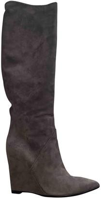 Saint Laurent Grey Suede Boots