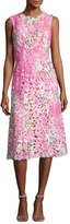 Monique Lhuillier Sleeveless Neon Lace Cocktail Dress, Pink