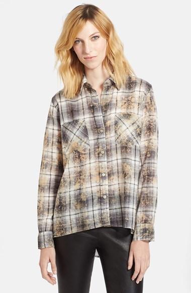 Enza Costa Plaid High/Low Cotton Shirt