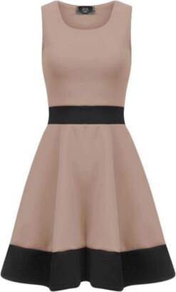 Fashion Star Women Flared Swing Skater Sleeveless Mini Dress Skater Dress Cerise Plus Size UK 16