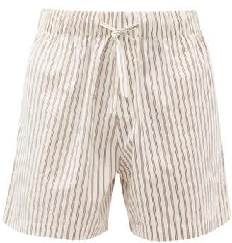 Tekla - Drawstring-waist Cotton-poplin Pyjama Shorts - Cream Multi
