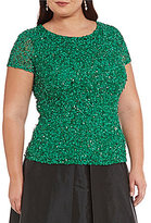 Adrianna Papell Plus Cap-Sleeve Beaded Top
