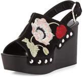 Alexander McQueen Floral Suede Platform Wedge Sandal