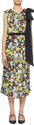 Erdem Breena Bow-Shoulder Floral Midi Dress
