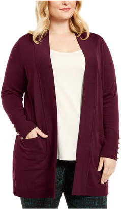 JM Collection Plus Size Button-Sleeve Flyaway Cardigan Sweater