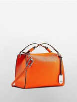 Calvin Klein Platinum Contoured Pebbled Leather Satchel