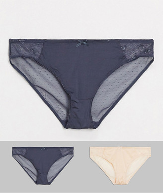 Dorina Plus Size 2 pack brief in grey and beige