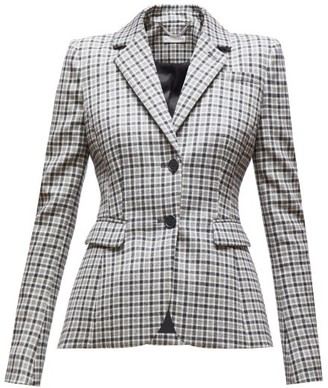 Altuzarra Fenice Single-breasted Checked Wool-blend Blazer - Womens - Black White