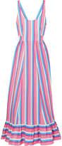 STAUD - Eunice Striped Stretch-cotton Poplin Maxi Dress - Pink