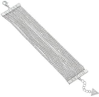 GUESS Crystal Mesh Wide Bracelet (Silver) Bracelet