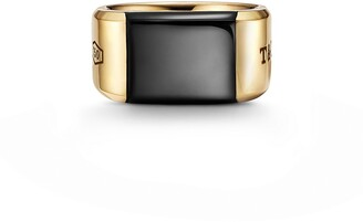 Tiffany & Co. 1837TM Makers black onyx signet ring in 18k gold, 12 mm wide