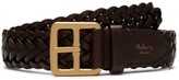30mm Boho Buckle Braided Belt Chocolate Natural Leather