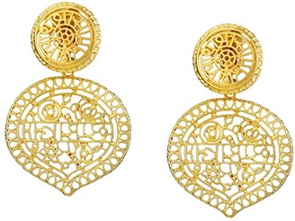 Kenneth Jay Lane Satin Gold Filigree Drop Clip Earrings (Satin Gold) Earring