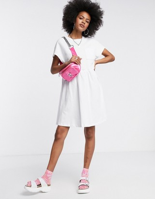 Noisy May mini smock t-shirt dress with pocket detail in white
