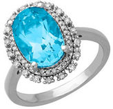 Lord & Taylor Blue Topaz, Diamond and Sterling Silver Ring, 0.23 TCW