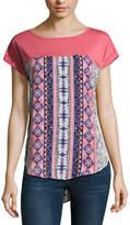 REWIND Rewind Short Sleeve Round Neck Floral T-Shirt-Womens Juniors