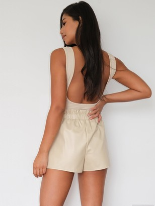 Missguided Faux Leather Elasticated Waist Shorts - Stone