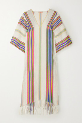 Tory Burch Fringed Striped Linen Kaftan - White