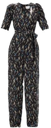 Erdem Iberis Floral-print Silk Crepe De Chine Jumpsuit - Black Blue