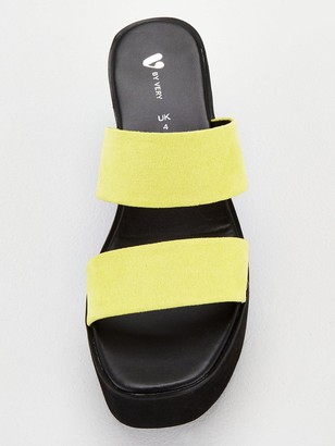 Very Delight Twin Strap Mule Wedge Sandals - Yellow