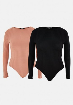 Missguided Plus Size Black And Tan Rib Bodysuits 2 Pack