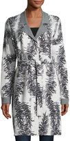 Neiman Marcus Branch-Print Belted Cardigan, Gray