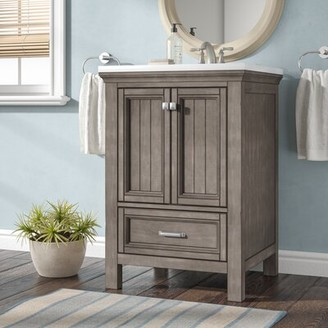 "Beachcrest Home Melgar 24"" Single Bathroom Vanity Base Only Base Finish: Distressed Gray"