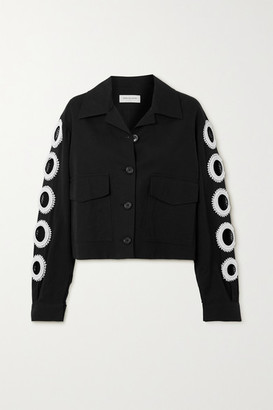 Dries Van Noten Vokar Cropped Bead-embellished Cutout Cotton-blend Jacket - Black