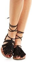 Charlotte Russe Qupid Fringed Lace-Up Thong Sandals
