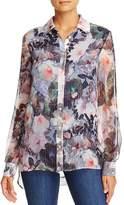 Badgley Mischka Metallic Pinstripe Floral Print Silk Blouse