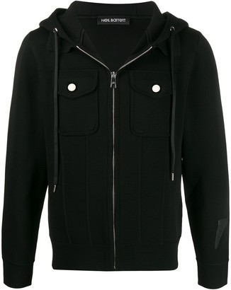 Neil Barrett Chest Pockets Zip-Up Hoodie