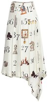 Numbers-Print Pleated Silk Twill Midi Skirt