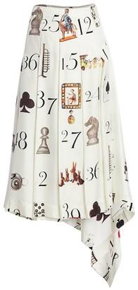 Monse Numbers-Print Pleated Silk Twill Midi Skirt