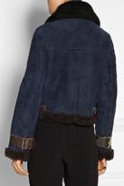 Acne Vera leather-trimmed shearling biker jacket