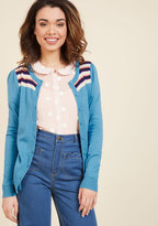Bolder at the Shoulders Striped Cardigan in Lagoon in L