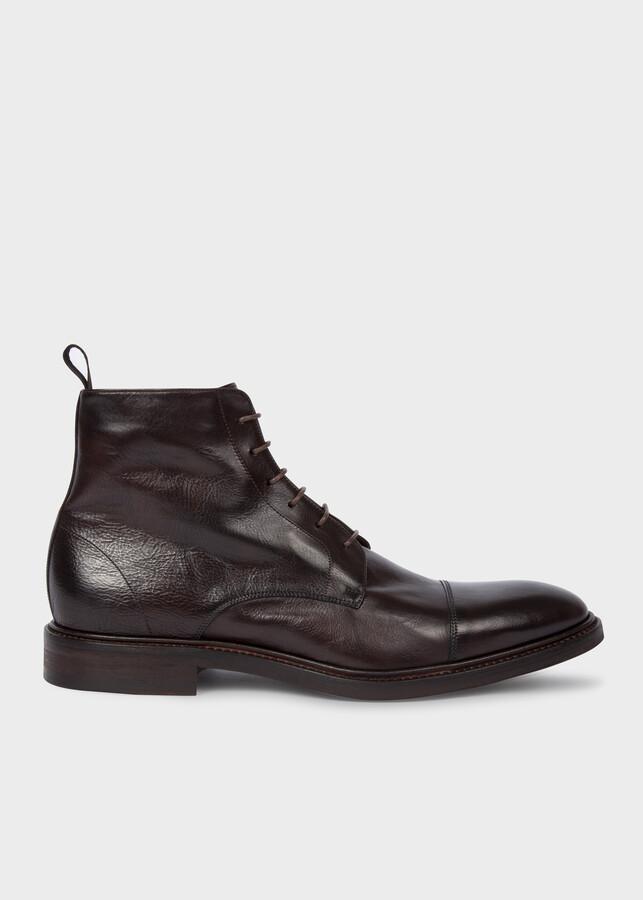 Paul Smith Men's Dark Brown Calf Leather 'Jarman' Boots
