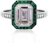 Platinum Diamond Emerald Halo Engagement Ring