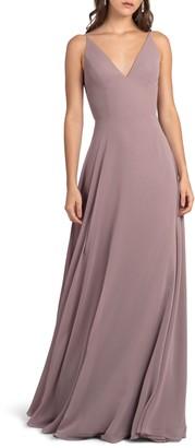 Jenny Yoo Dani Tie Back V-Neck Gown