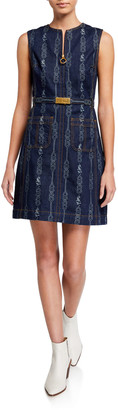 Tory Burch Belted Gemini Jacquard Sleeveless Denim Dress