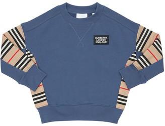 Burberry Cotton Sweatshirt W/ Check Nylon Insert
