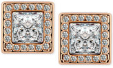 T Tahari Gold-Tone Crystal Square Button Earrings