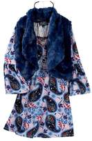 My Michelle mymichelle Printed Dress, Faux Fur Vest & Necklace Set (Big Girls)