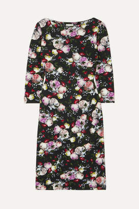 Erdem Reese Floral-print Stretch-jersey Dress - Black