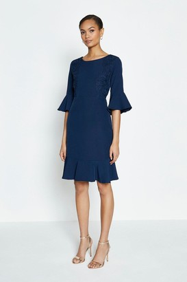 Coast Lace Applique Bell Sleeve Shift Dress