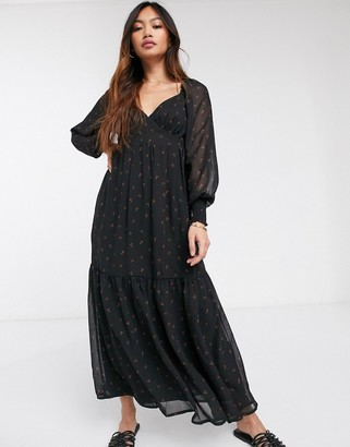 Vila lace detail maxi dress in black